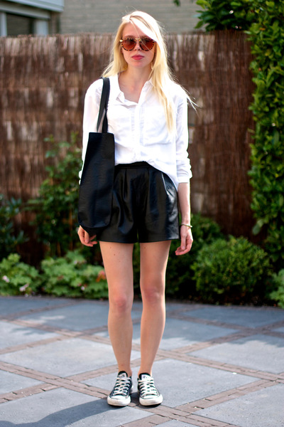 black faux leather Topshop bag - white linen H&M shirt