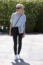 black ripped asos jeans - periwinkle oversized H&M shirt - black Zara bag