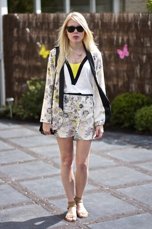 cream shorts blazer asos suit - yellow H&M top