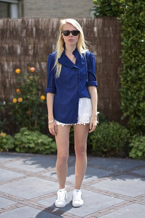 navy vintage shirt - white Zara shorts - white superstar Adidas sneakers
