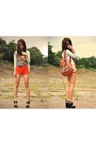 carrot orange Topshop shorts - Topshop bag - Topshop top