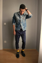 minga berlin socks - xti boots - Levis jacket - H&M pants - Fossil watch