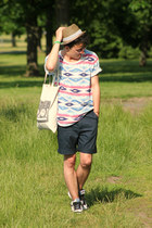 H&M bag - Zara hat - Selected Homme shorts - H&M t-shirt - nike sneakers