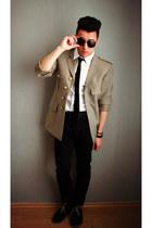 dark khaki thrifted blazer - black suede asos boots - black Primark pants