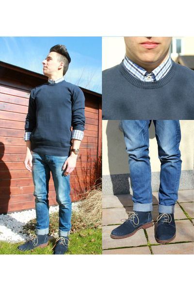 navy suede xti boots - sky blue asos jeans - sky blue slim fit Biaggini shirt
