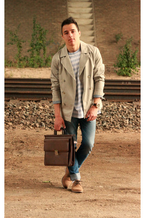 vintage bag - Zara coat - asos jeans - Fossil watch - Public Clothing t-shirt
