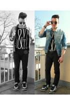 black New Yorker t-shirt - sky blue Levis jacket - sky blue nike sneakers