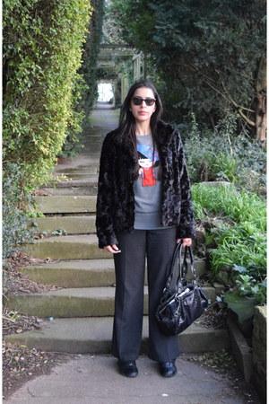black faux fur Oasis coat - charcoal gray Joy sweater
