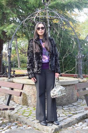black faux fur Oasis coat