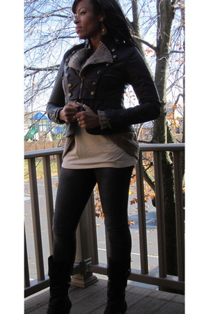 dark brown Wet Seal jacket - gray Zara jeans - light brown merona cardigan