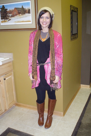 brown Target boots - black The Hanger leggings - black Hearbreaker dress - pink