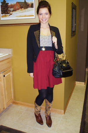red Urban Outfitters dress - black Buffalo Exchange jacket - black Heartbreaker