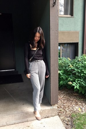 black BCBG bag - H&M pants - black H&M top