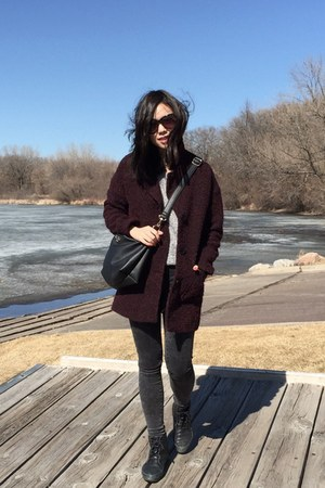 black boots - crimson H&M coat - gray no brand jeans - black BCBG bag