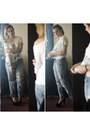 Blue-unknown-jeans-white-desigual-t-shirt-black-pu-rubber-shoes-oasap-pumps