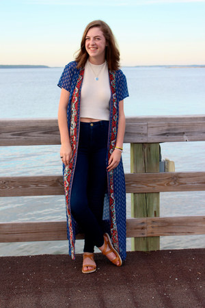 navy kimono Band of Gypsies vest - eggshell halter brandy melville top