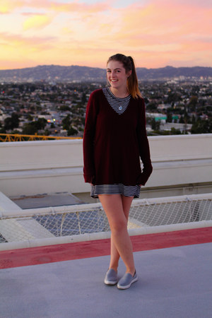 navy tee shirt dress Wet Seal dress - maroon knit Urban Outfitters sweater