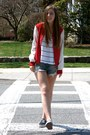 Red-varsity-jacket-forever-21-jacket-white-striped-urban-outfitters-shirt