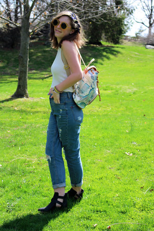 black ankle boots Wet Seal boots - light blue boyfriend jeans BDG jeans