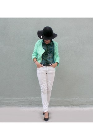 green Urban Outfitters blouse - white No Bundaries jeans - black H&M hat