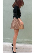 gold Charlotte Russe skirt - black shoes - black sweater