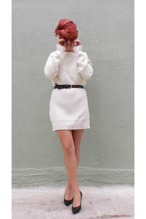 black Febo boots - cream Joe Fresh sweater - navy - belt