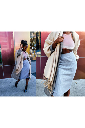 tan big scarf H&M scarf - black ankle boots Forever 21 boots