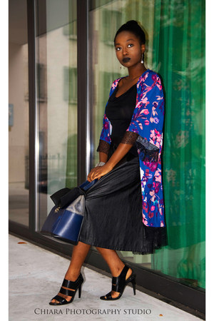 black leather pleated ovs skirt - kimono Nasty Gal blouse