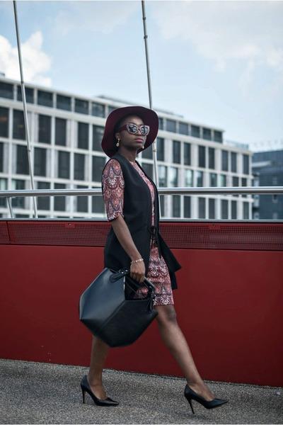 brick red jacquard Esprit dress - black sleeveless Esprit blazer