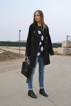Zara jeans - h&m divided boots - asos coat - Zara bag - H&M Trend blouse