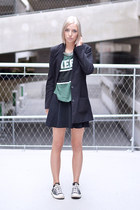 H&M blazer - GINA TRICOT top - h&m divided skirt - Converse sneakers
