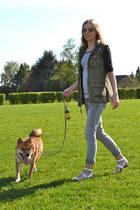 new look jacket - Mango jeans - H&M top - Zara sandals