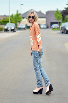 Zara jeans - Nelly top - Zara wedges