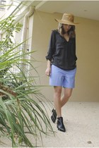 black crossover Zara blouse - sky blue COS shorts