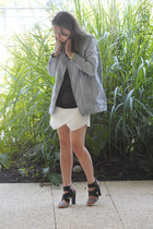 white skort Zara skirt - sky blue denim Monki jacket - black sheer Monki top
