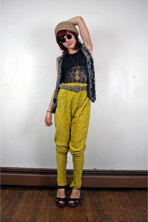 yellow pants - black suit - black vest
