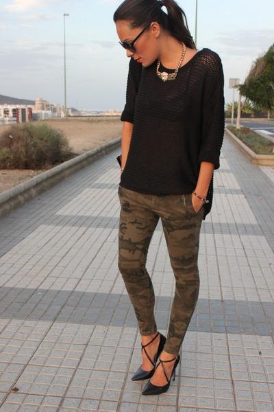 army green Zara jeans - black Zara heels