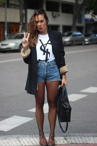 Yves Saint Laurent shirt - Levis shorts