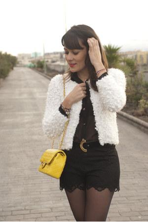 black Forever 21 shorts - white Beadsbazaar cardigan