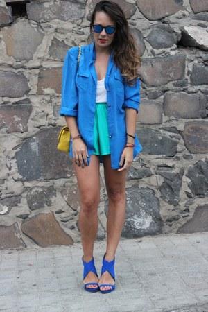 blue vintage shirt - vintage shorts