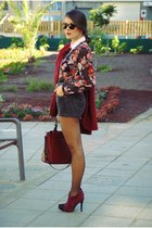 crimson Primark blouse - dark gray Levis shorts