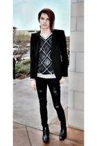 black Forever 21 blazer - black Old Rye sweater - black Forever 21 jeans - black