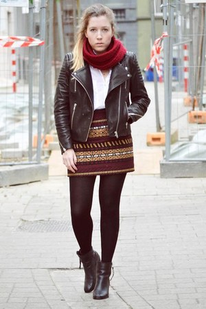 skirt - boots - jacket - scarf - blouse