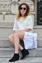 black Eram boots - white Zara dress