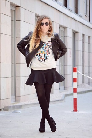 H&M jacket - Kruidvat sunglasses - H&M skirt - wedges - H&M sweatshirt