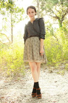 black trouser HUE socks - black Twitch Vintage blouse - black skinny leather thr