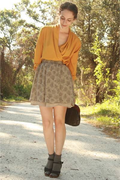 gold httpstoresebaycomTwitchVintage blouse - beige thrifted skirt - gray HUE soc
