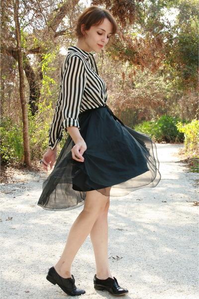 black sheer dancer thrifted skirt - black hemmed thrifted skirt