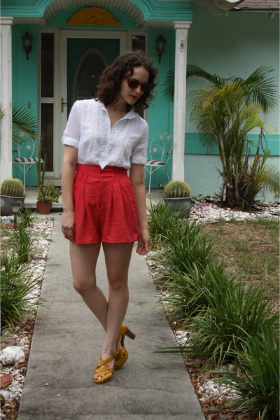 brown thrifted sunglasses - white thrifted blouse - red httpstoresebaycomTwitchV