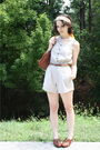Yellow-thrifted-scarf-beige-shorts-brown-thrifted-belt-brown-thrifted-purs